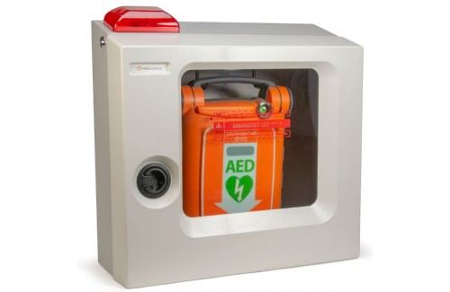 Cardiac Science Standard Size Wall Mount AED Cabinet w/Alarm & Strobe FITS G5 AED