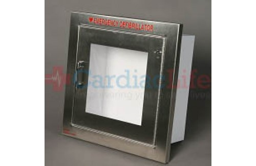 Alarmed AED Wall Cabinet Stainless Steel Semi-Recessed w/ AED Signs