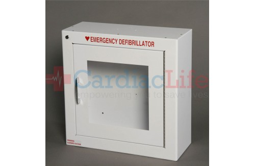 Compact Size Alarmed AED Wall Cabinet Surface Mount w/ AED Signs