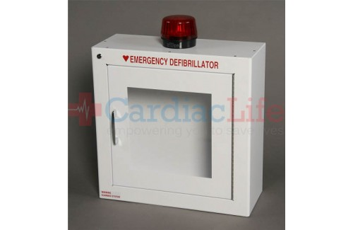 AED Wall Cabinet Surface Mount with Alarm & Strobe w/ AED Signs
