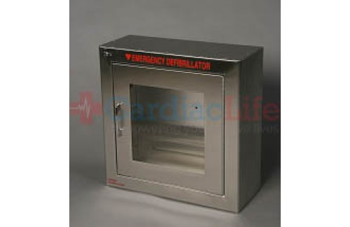 Alarmed AED Wall Cabinet Stainless Steel Surface Mount w/ AED Signs