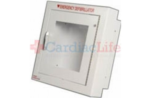 Non-Alarmed AED Wall Cabinet Fire Rated Semi-Recessed w/ AED Signs