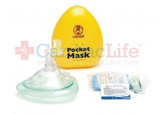 Laerdal Pocket Mask with O2 Intel, Gloves, Wipe