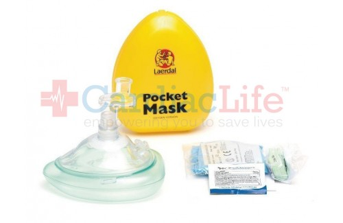 Laerdal Pocket Mask with O2 Intel, Gloves, Wipe