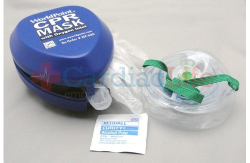 WorldPoint CPR Mask with O2 inlet Hard