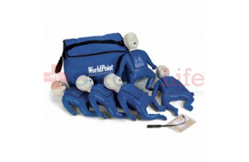 CPR Prompt Infant Manikins 5-Pack BLUE w/ Carry Bag