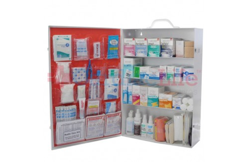 First Aid Kit 4 Shelf OSHA Fill Plus Meds