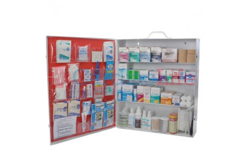 OSHA First Aid Kit Wide 4 Shelf Kit with Fill and Logo