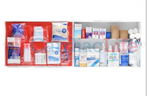 Restaurant First Aid Kit OSHA Class A 2 Shelf Metal