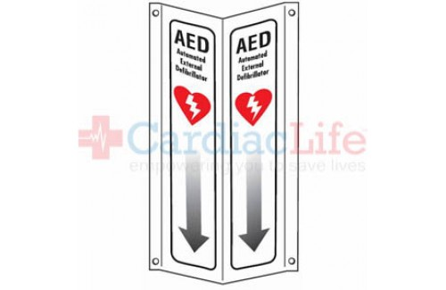 "AED 3D Tent Sign with Arrow Plastic - 4"" x 18"""