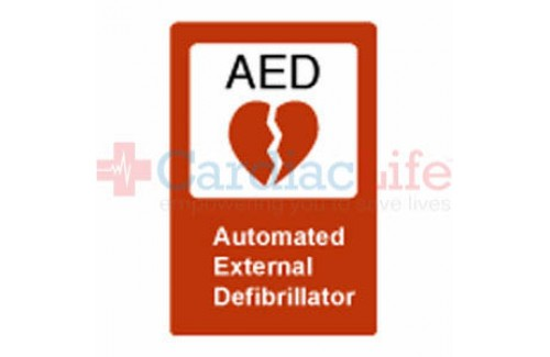 "AED Sign Vinyl Decal 10"" x 14 """