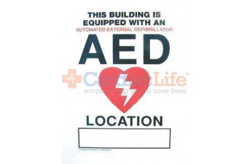 "AED Window Static Cling Sign -8"" x 13"" ( 3 pack)"