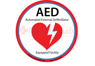 """AED Equipped Facility Window/AED Wall Cabinet Decal - 4"""" Diameter"""