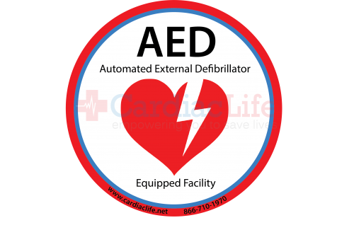 "AED Equipped Facility Window/AED Wall Cabinet Decal - 4"" Diameter"