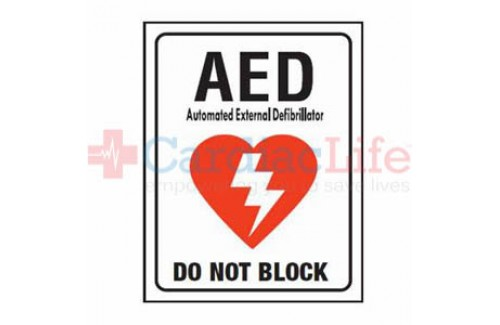 "AED Sign Plastic - Do Not Block - 9"" x 12"""