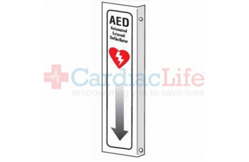 "AED Sign With Arrow Plastic - 4"" x 18"""