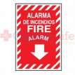 "Aluminum Fire Alarm Sign 9"" x 12"" - Bilingual"