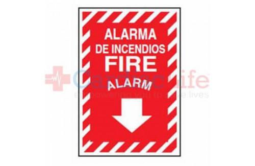"""Aluminum Fire Alarm Sign 9"""" x 12"""" - Bilingual"""