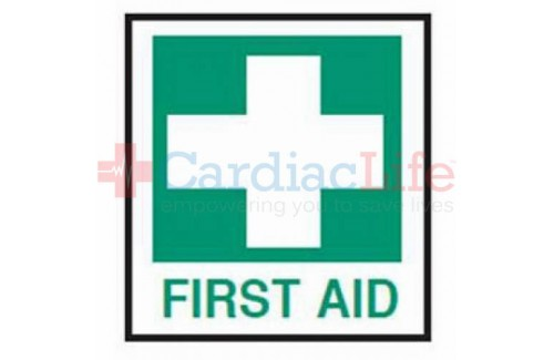"First Aid Safety Vinyl Sign -4""x4"""