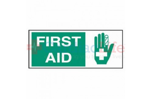 "First Aid Vinyl Location Sign- 7""x17"""
