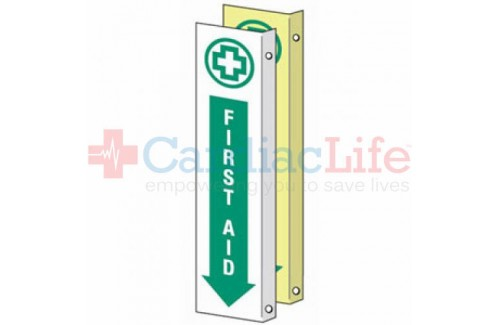 "Glow-in-the-Dark First Aid Location Sign-4""x18"""