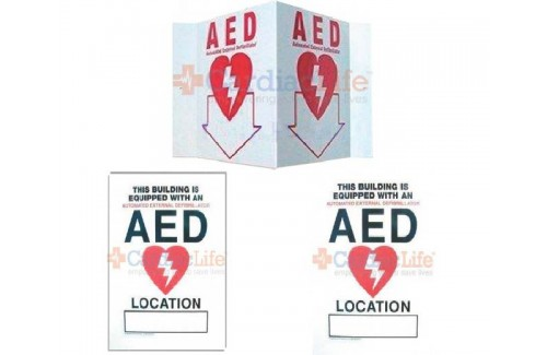 AED Wall Sign Package w/ Cling Sign, Standout Sign, and 3-D Sign
