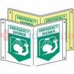 "Glow-in-the-Dark Compact Emergency Shower Tent Sign-7""x10"""