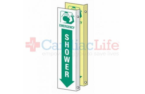 "Glow-in-the-Dark Emergency Shower Location Sign-4""x18"""