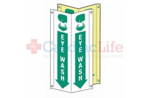 "Glow-in-the-Dark Eye Wash Location Tent Sign-4""x18"""