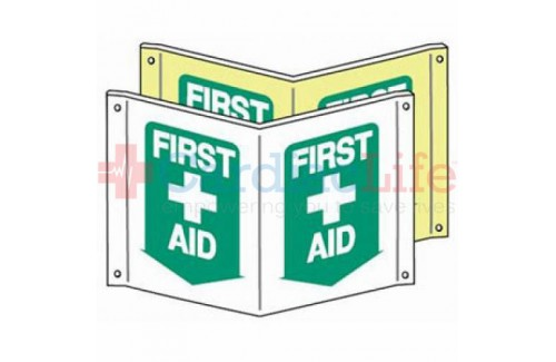 "Glow-in-the-Dark Compact First Aid Tent Sign-7""x10"""