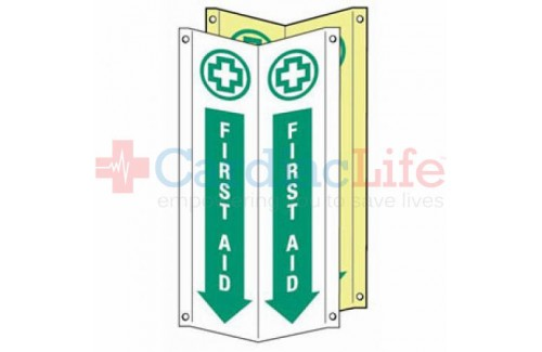 "Glow-in-the-Dark First Aid Location Tent Sign-4""x18"""