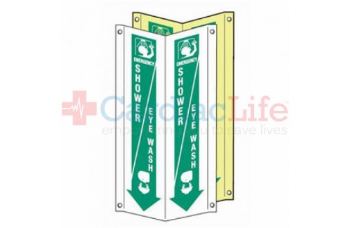 "First Aid Shower/Eye Wash Location 3D Tent Sign-4""x18"""
