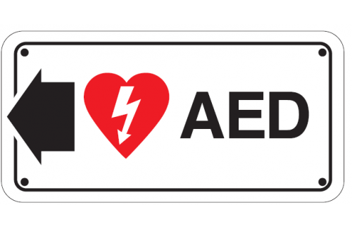 Direction AED and Arrow Sign